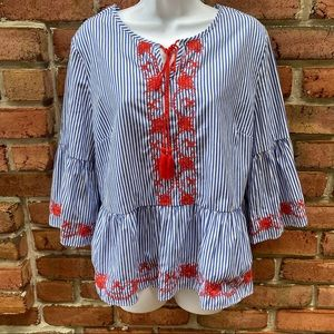 Primark Blue White Striped Blouse Red Embroidery
